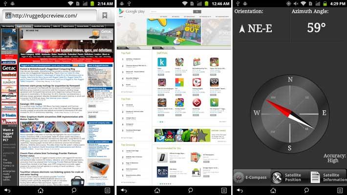 Getac Z710. Браузер. Google play. e-Compass